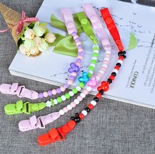 New Baby Pacifier Clip Pacifier Chain Hand Made Funny Colourful Beads Dummy Clip Baby Soother Holder For Baby Kid
