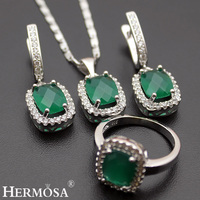 Hermosa Jewelry Nice Classic Fashion Oval Green 925 Sterling Silver women Pendant + Chain+Earrings + Ring 8#