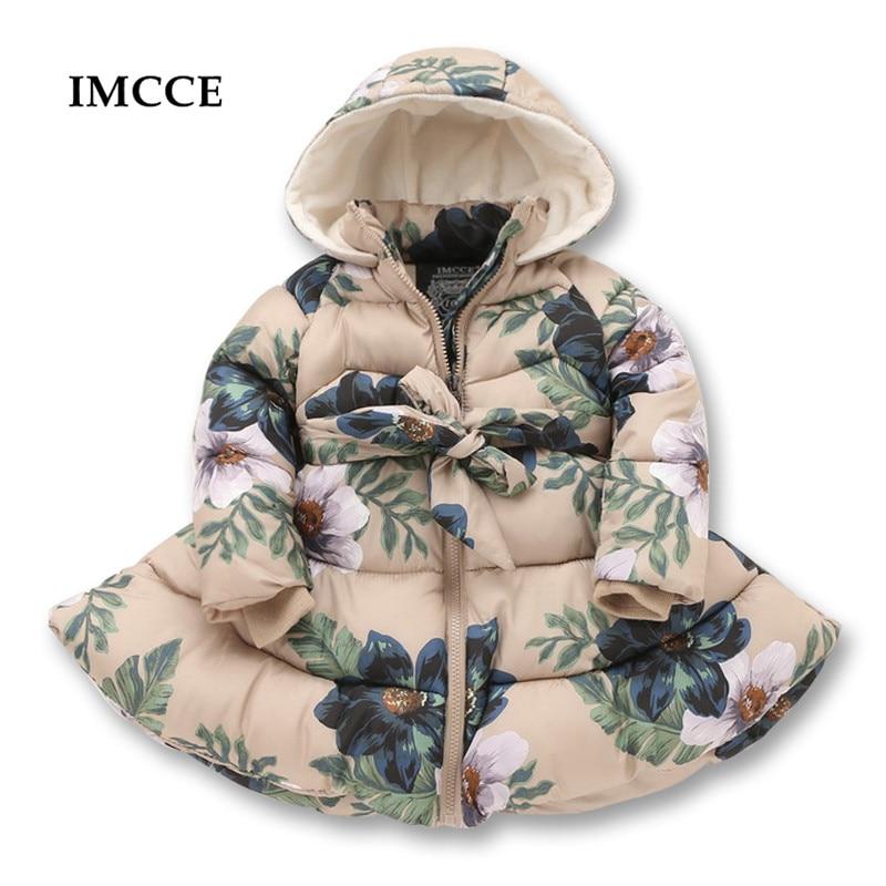 Новые зимние куртки для девочек вскользь с капюшоном на молнии Верхняя одежда пальто для Девочки хлопок проложенный набивный Детская одежд...