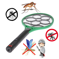 New Handheld Electronic Mosquito Bug Zapper Fly Swatter Racket LED Light Indicator For Camping Hiking