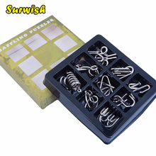 5 Difficulty levels 9Pcs/set Metal Wire Puzzles Brain Teaser Classical Intellectual Toy