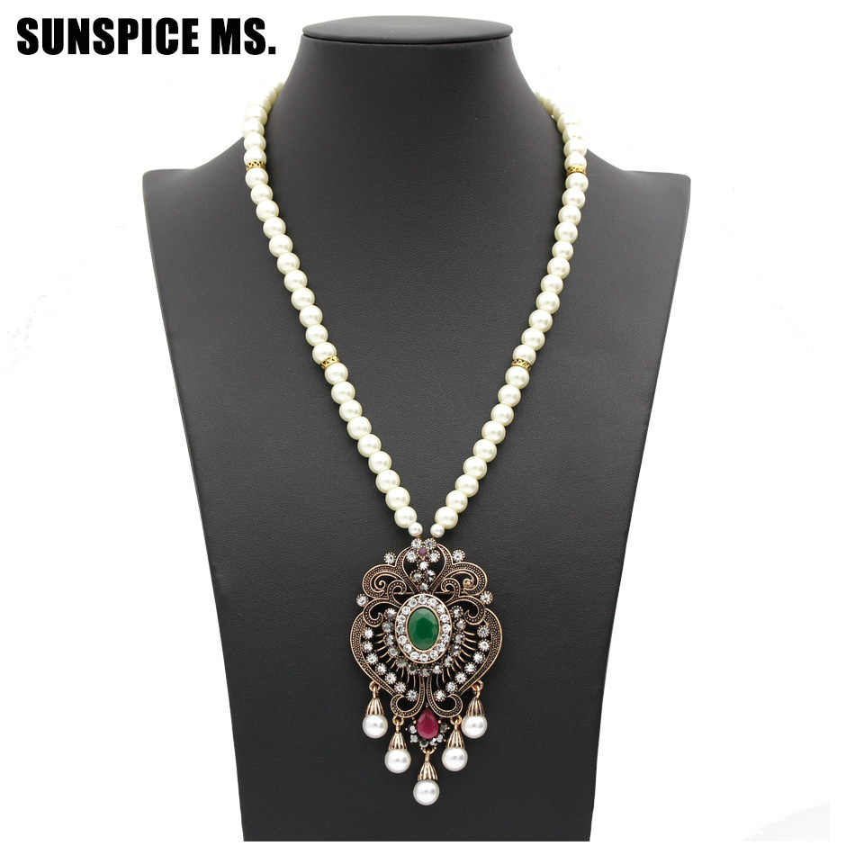 Vintage Flower Strand Bead Pendant Necklace Set Women Antique Simulated-pearl Chain Turkish Bridal Indian Wedding Resin Jewelry