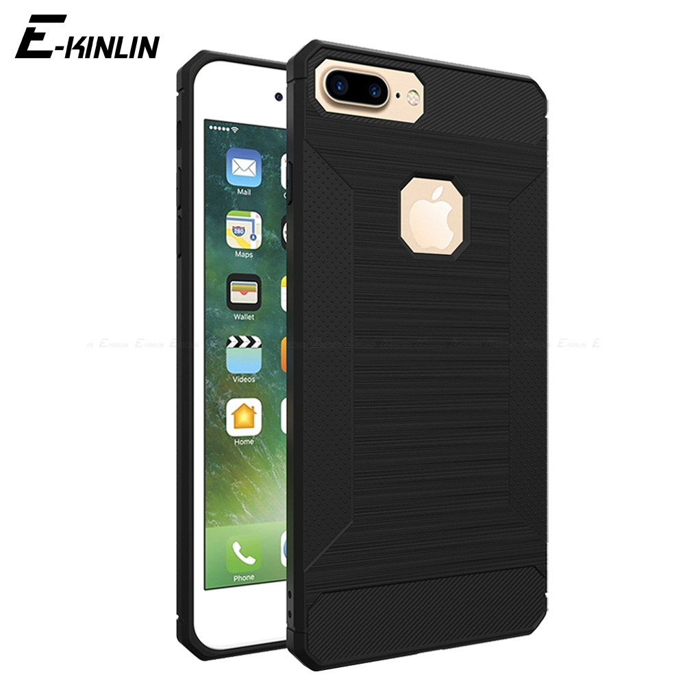 Non-slip Carbon Fiber Brushed Phone Case For iPhone X 10 Ten 8 7 6 6S Plus 5 5S SE Soft Silicone Back TPU Cover