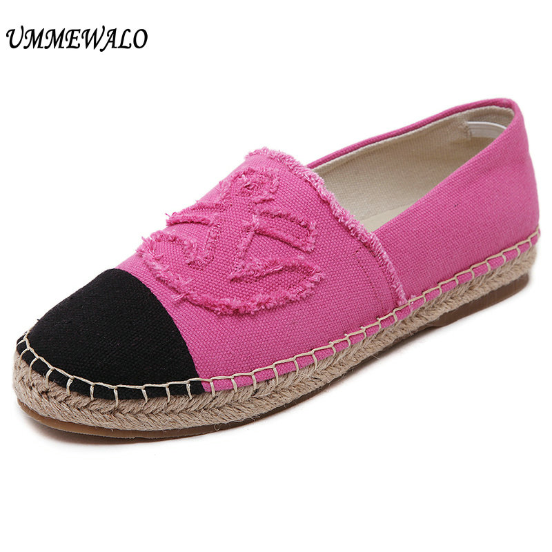UMMEWALO Canvas Shoes Women Slip On Espadrilles Woman Comfortable Round Toe Loafers Flats Ladies Casual Flat