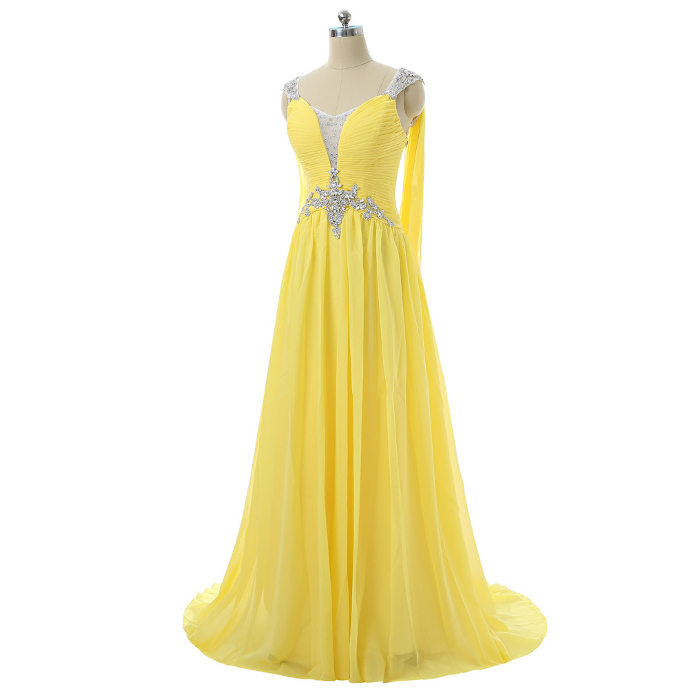 Robes De soirée jaunes 2019 a-ligne col en v Cap manches en mousseline De soie cristaux dos ouvert longue Robe De soirée Robe De bal Robe De soirée - 3