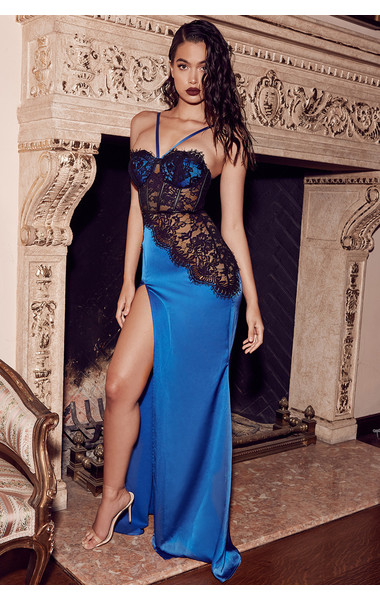 05807c4c4e KLEEZY winter party Christmas sleeveless halter SAPPHIRE BLUE   BLACK SATIN LACE  evening MAXI patchwork DRESS by157-in Dresses from Women s Clothing on ...