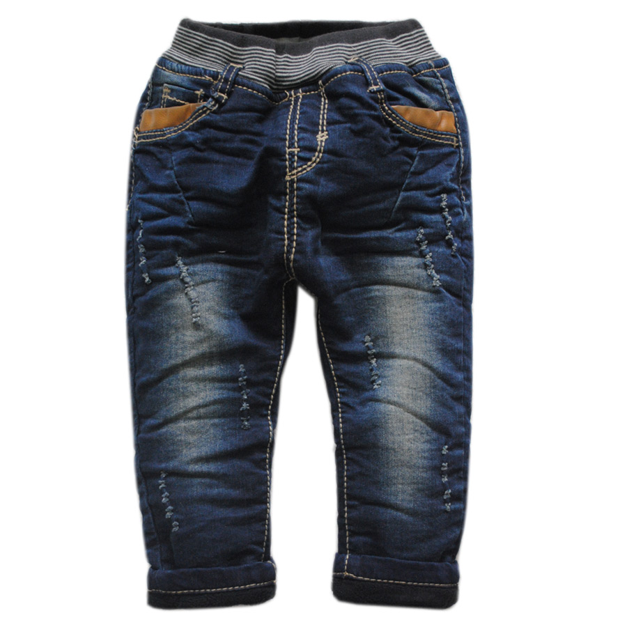 6018 winter warm jeans pants baby denim + fleece trousers baby boy Double-deck thick kids baby fashion new little harem