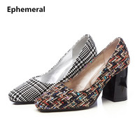 Woman Square Toe Printing Cloth High Heels Shoes Thick Heel 8cm Cover Heel Pumps Rome Style