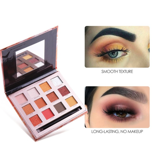 Focallure 12 Colors Shimmer Eyeshadow Palette Glitter Matte Sunset