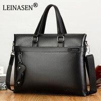 LEINASEN Brand Business Style Men Casual Handbag With Belt Men Messenger Bags Computer Laptop Handbag Bag