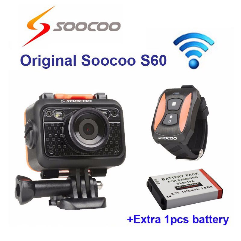 Free shipping!! Original Soocoo S60 WiFi Diving Waterproof 1080P Full HD Sport Action Cam with Remote Control+Extra 1pcs battery free shipping 16gb soocoo c30 wifi ultra hd 2k 30fps full hd 1080p mini sports camera extra 1pcs battery car charger holder