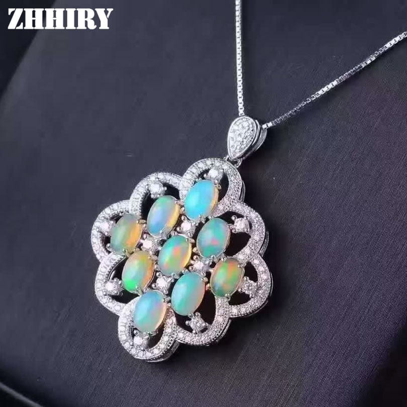 ZHHIRY Genuine Natural Color Opal 925 Sterling Silver Necklace Pendant For Women Real Gemstone Fine Jewelry vintage faux opal floral necklace jewelry for women