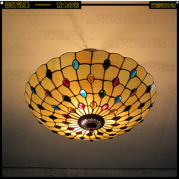 16 inch European Mediterranean tiffany retro pendant light color glass bedroom dining room lamp E27 110-240V tiffany mediterranean dining room pendant lamps european style simple triple staircase modern living room lamp pendant lights
