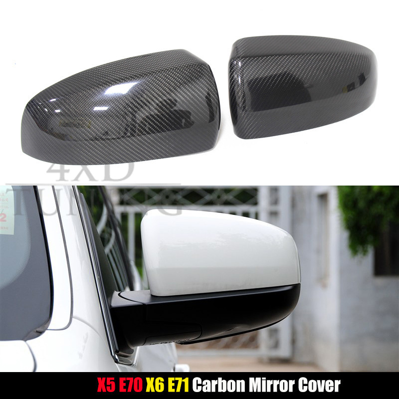 For BMW X Series Carbon Mirror Cover X5 E70 & X6 E71 Carbon Fiber Rear View Mirror Cover Replacement & Add on style 2007 - 2013 sncn inflexible acrylic rearview mirror rain gear shield rear view mirror anti rain cover for bmw x5 e70 2007 2008 2011 2012