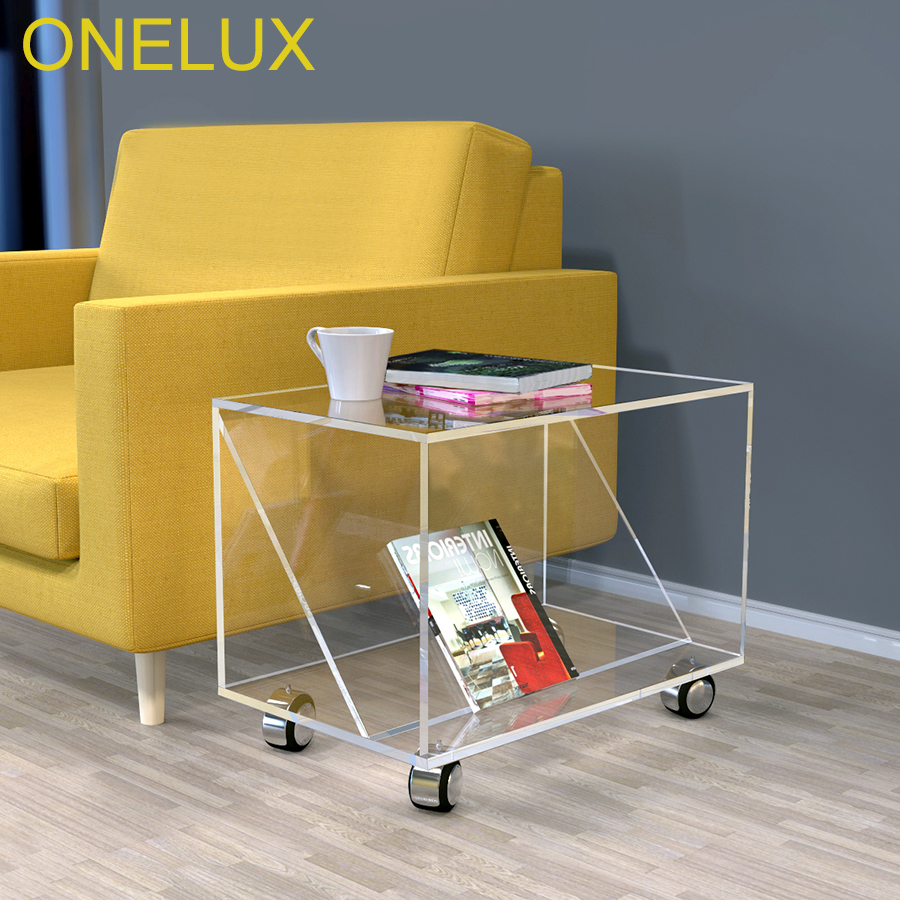 Clear Acrylic Occasional Accent Sofa Table On Wheels