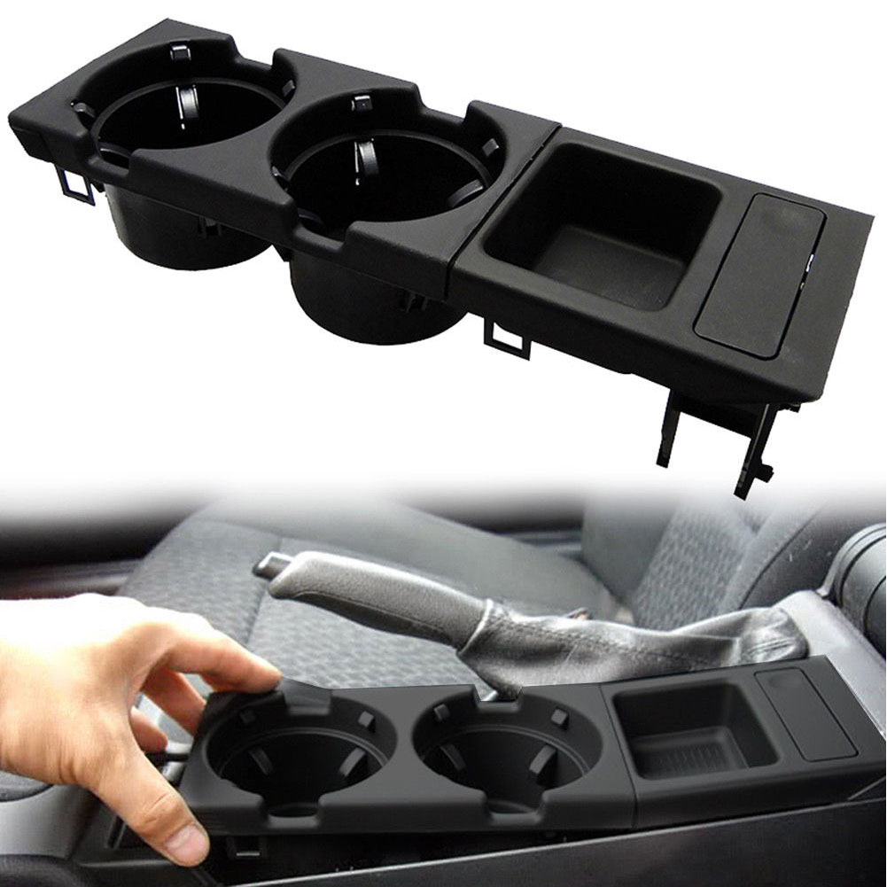 Center Console Kit Car Accessories Styling + Coin Storage Box Drink Bottle Cup Holder Set Tray Durable Black Plastic For BMW E46