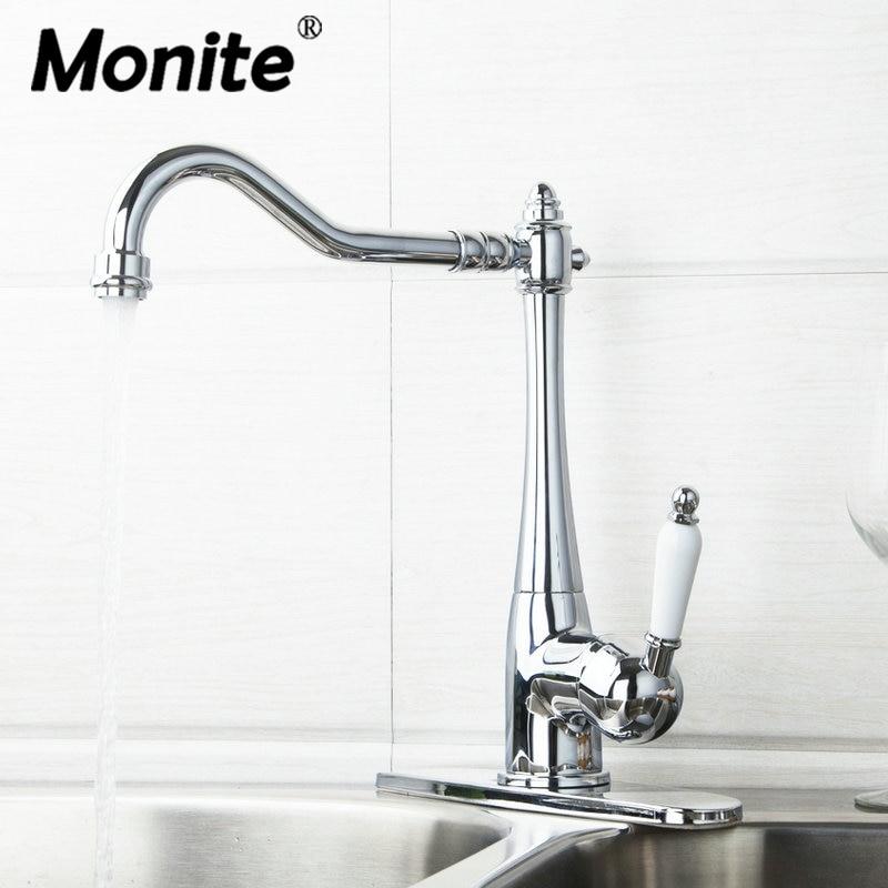 Monite Kitchen Torneira Swivel Chrome Spout Ceramic Handle Cover Plate Hose 84855724 Sink Water Tap Vessel