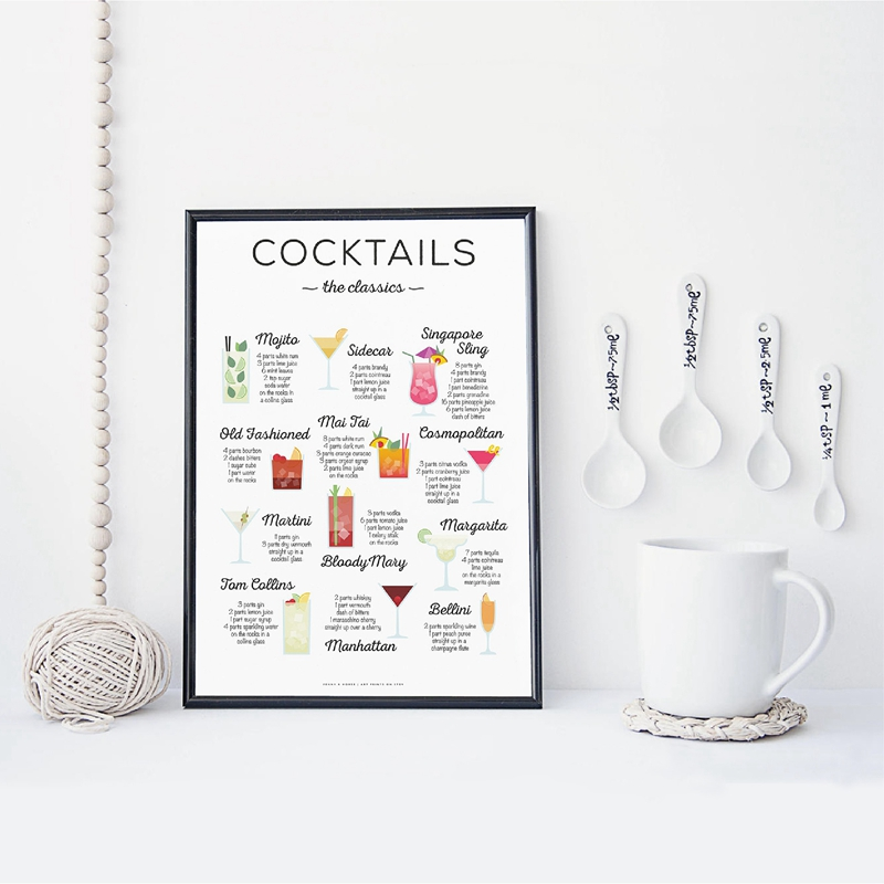 Cocktails The Classics Recipe Print Bar Poster Cocktail How To Guide Picture Art Canvas Painting Gift Kitchen Wall Art Decor