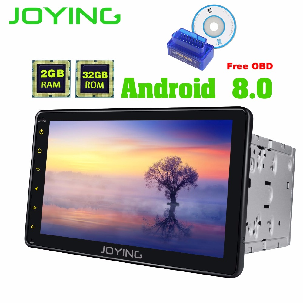 JOYING 2 Din 8'' Android 8.0 Octa Core 2GB Universal Car Radio Stereo GPS LCD touch screen Bluetooth FM WIFI USB WITH FREE OBD