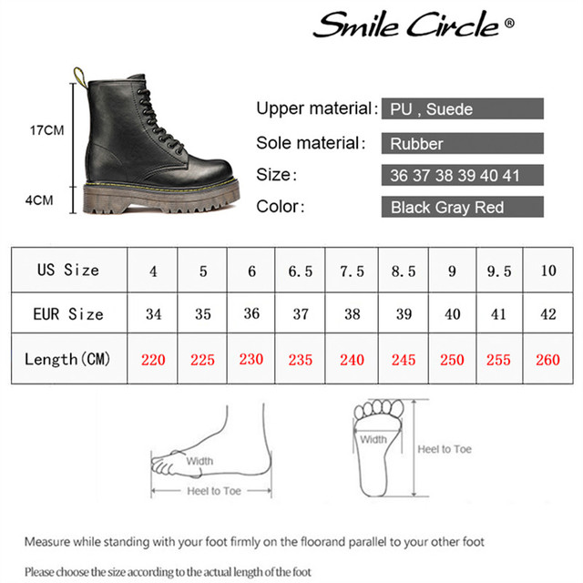 Smile Circle Size36-41 Chunky Motorcycle Boots For Women Autumn 2018 Fashion Round Toe Lace-up Combat Martin Boots Ladies Shoes 5