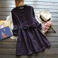 Colegio sweet lolita lindo retro vintage rockabilly tunique femme túnica boho algodón inglaterra plaid grueso otoño mujeres dress