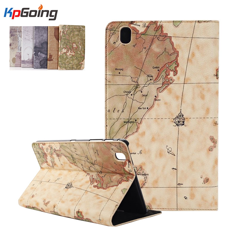 For Samsung Tab Pro 8.4 Map Print Pu Leather Stand Holder Cover Case for Samsung Galaxy  ...