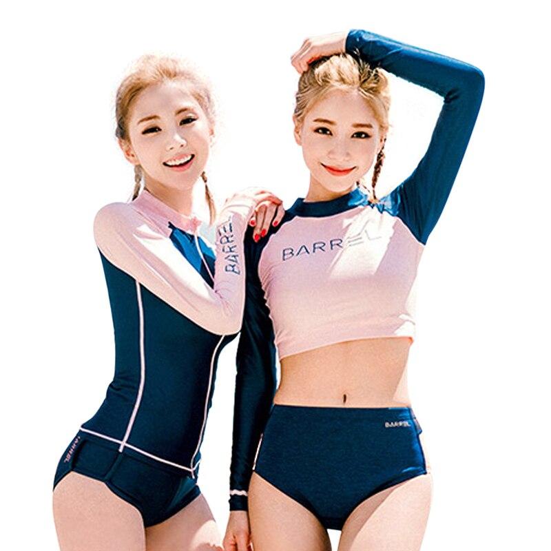 Delle donne Sexy Manica Lunga Protezioni tre Pezzi Costumi Da Bagno 2017 Donne Calde Vestito di Nuoto Surf Costume Da Bagno delle Donne Beachwear