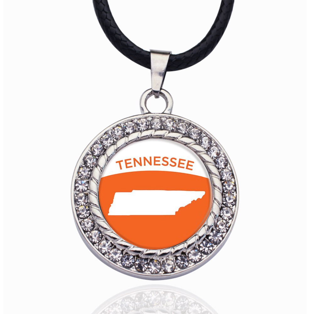 Tennessee Outline Circle Charm Crystal Pendant Necklaces For Women Vintage Charm Choker Necklace Party Jewelry Gift(China)