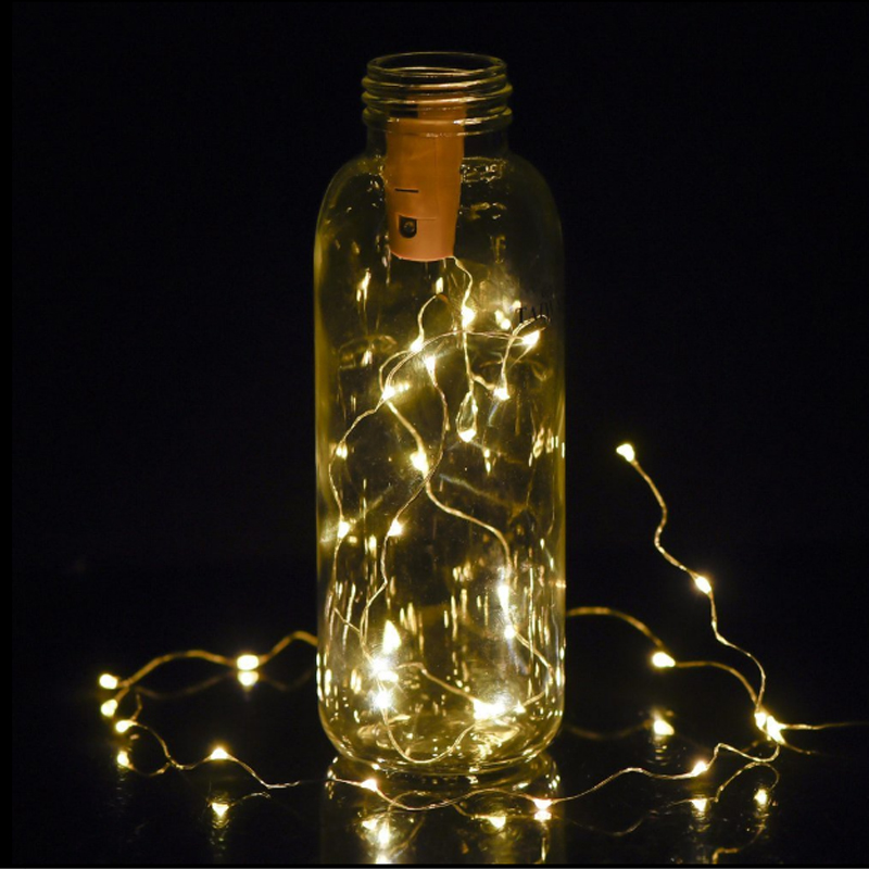 Holiday Lighting 1pcs Copper Wire Bottle Cork 20 LED String Lights Battery Operated Starry Rope Fairy Lights For Home Decoratio 1