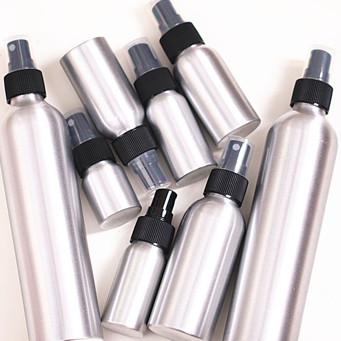 Hot 1PC 30ml 50ml 100ml Aluminium Spray Atomiser Bottle Refillable Empty Bottles Black Pump Atomizer Cosmetic Packaging Tool