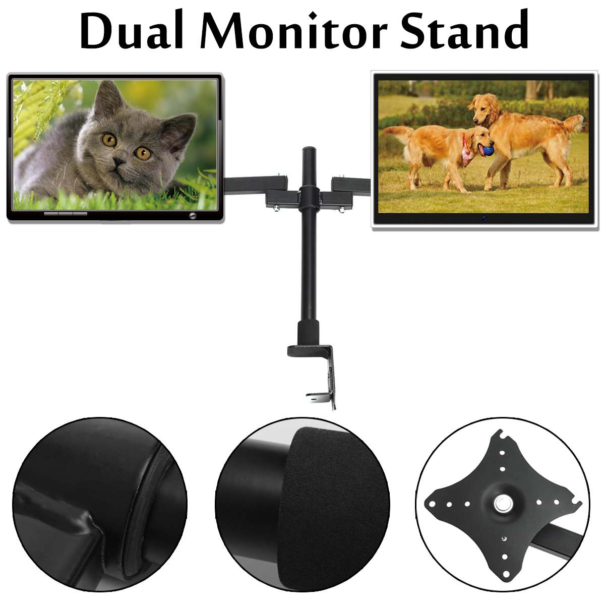 360Degree Rotate Adjustable Dual Arm LCD LED Monitor Desk Mount Stand Bracket for 14 27 Screens Cold Rolled Steel Black