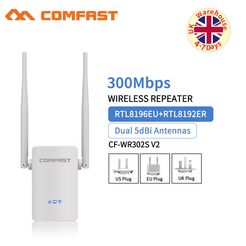 Comfast Wireless WIFI Repeater 300Mbps Network Wifi Extender Signal Amplifier 2*5dbi Antenna Signal Booster Repetidor Wi Fi AP