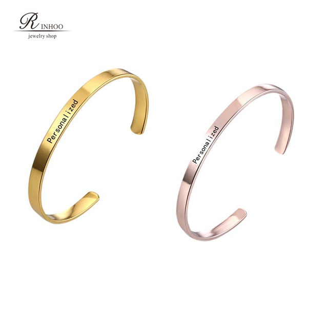 Custom Name Positive Inspirational Bracelet Personalized Jewelry Initial Engrave