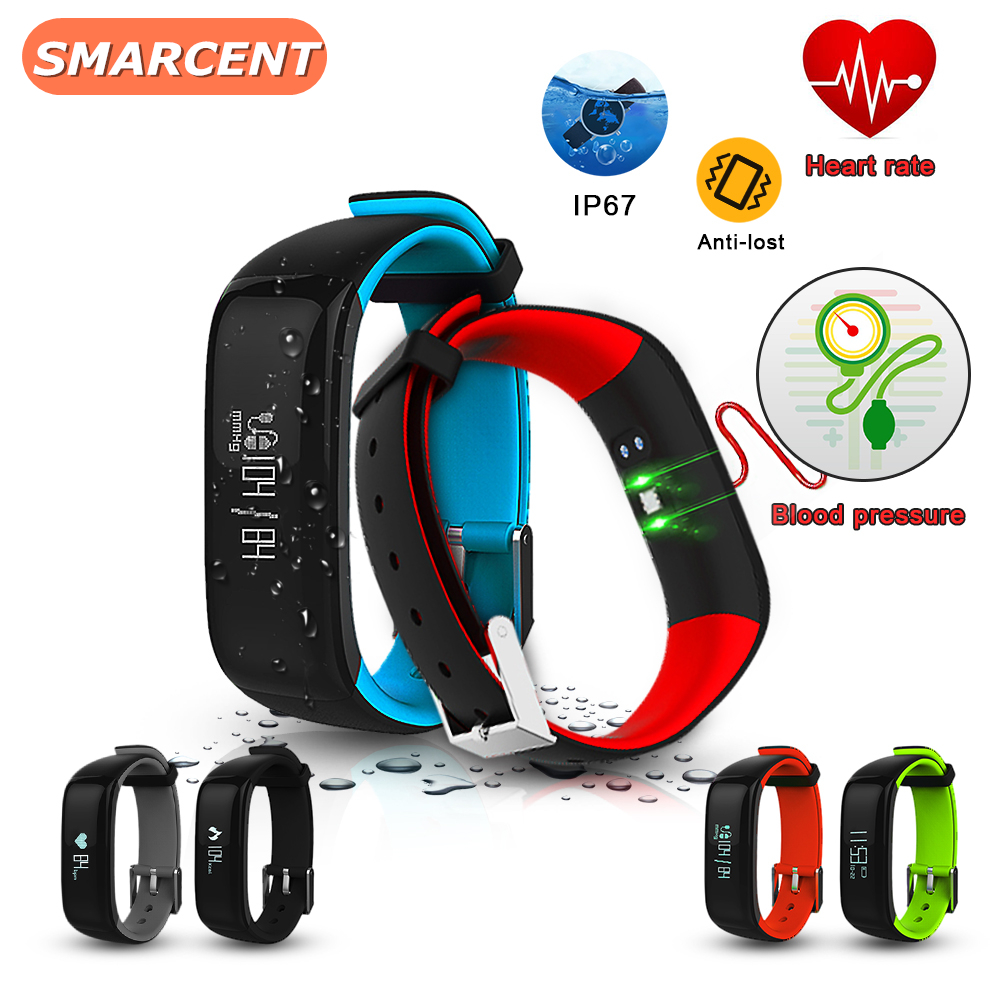 SMARCENT 2017 Newest Blood Pressure and Heart Rate Monitor Sport Fitness Smart Bracelet IP67 Waterproof Bluetooth