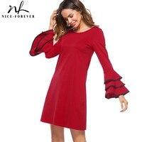 Nice-para sempre Elegante Causal Cor Vermelha O Pescoço vestidos Trumpet Manga Plissado Mulheres de Negócios Em Linha Reta Mudança Vestido Breve T020
