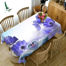 Customize 3D Tablecloth Red Rose Flower Plant Pattern Dustproof Thicken Cotton Wedding Party Rectangular Home textile