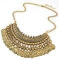 Joyería de moda Vintage Oro Chunky Babero Del Ahogador Del Collar de La Moneda Collar Suéter Collar Colgante de Oro Envío Gratis