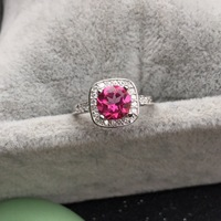 Solid Silver 925 Carat Round Natural Pink Stone Ring Women Luxury Wedding Engagement Ring 100 Real