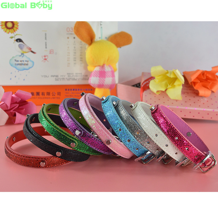 20Pcs Lot Fashion Bright Leather 10MM Personalized Dogs Pets Puppy Collar with Rhinestone Buckle