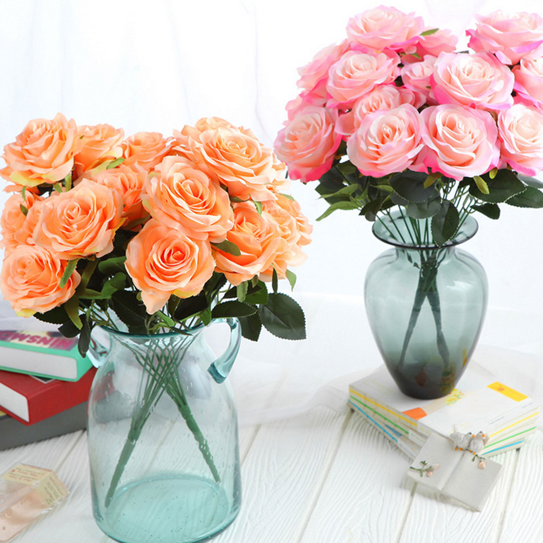 Rose Artificial Flower 10 Heads 45cm French Rose Bouquet Silk Flower for Wedding Home New Year Marriage Fake Flower Decoration in Artificial Dried Flowers from Home Garden