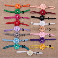 Wholesale 120pcs/lot Flower Headband Fabric Flower For Girl's Hair Accessories Girls Headdress