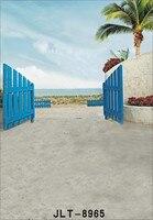 Photography Backdrops Children Photo Props Seaside Wooden Fence Background Vinyl 5x7ft Door