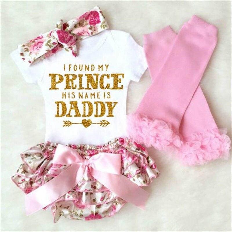 4 Stks Pasgeboren Baby Meisje Katoen Korte Mouw Bodysuit + Bloemen Shorts Jurk + Been Warmer + Hoofdband Outfit Set 0-18 Maanden Helen115