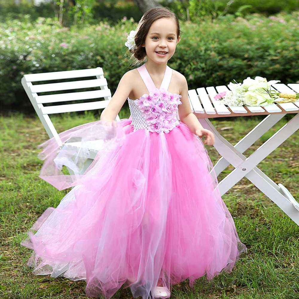Kids Children Ball Gown Flower Girls Baby Girls Flora  Princess Tutu Dress For Birthday Party Wedding Dresses Vestidos S2836