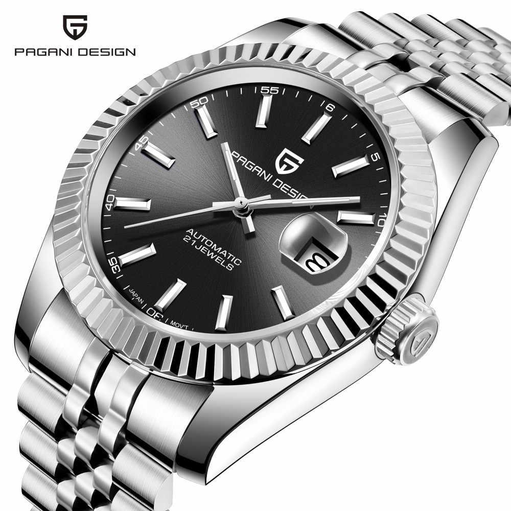 PAGANI ONTWERP Nieuwe Klassieke Zwarte Wijzerplaat Luxe Mannen Automatische Horloges Roestvrij Staal Waterdicht Mechanische Horloge Relogio Masculino