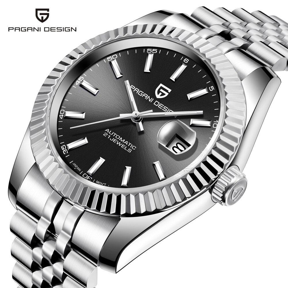 Pagani design clássico mostrador preto luxo masculino relógios automáticos de aço inoxidável à prova dwaterproof água relógio mecânico nh35 relogio masculino
