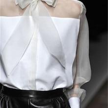 AEL/Женская блузка из органзы с бантом и мозаичным верхом, женская рубашка, одежда для работы, летняя элегантная женская Повседневная подиумная одежда