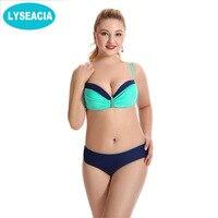 LYSEACIA Big Cup Bikini Push Up Swimwear Large Size Beach Bathing Suit Bikinis Set Women 2018 Plus Size Swimsuit Soild Biquinis