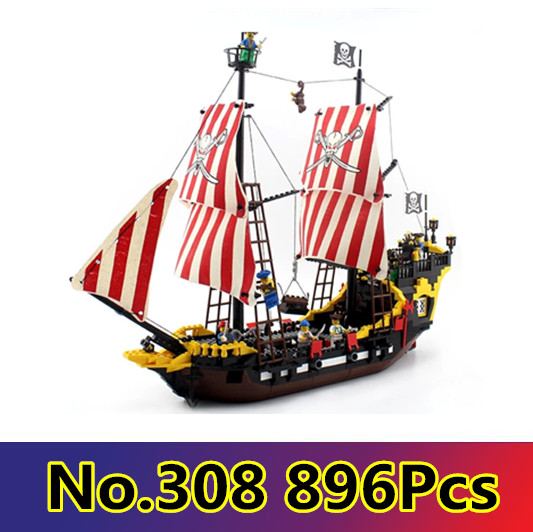 Model building kits compatible with lego city pirates battle ship 3D blocks Educational model building toys hobbies for children new lepin 16009 1151pcs queen anne s revenge pirates of the caribbean building blocks set compatible legoed with 4195 children