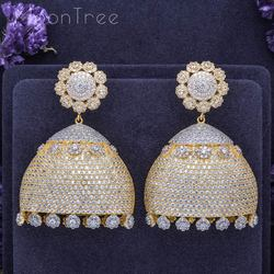 MoonTree Small Dell Design Delicate Flower Full Mirco Cubic Zirconia 3Tone Mixed Wedding Party Earring Fashion Jewelry for Women